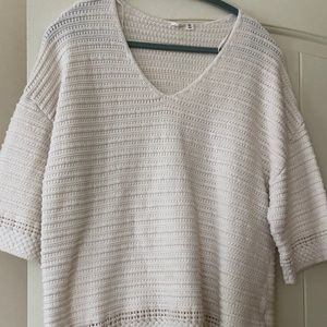 Womens GAP  V-neck Sweater, XL White Elbow Sleeve